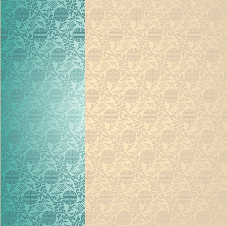Vintage blue and cream traditional Chinese pattern background with vertical banner and space for text Vector