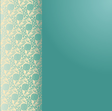 japanese motif: Vintage blue and cream traditional Chinese pattern background with vertical banner for text