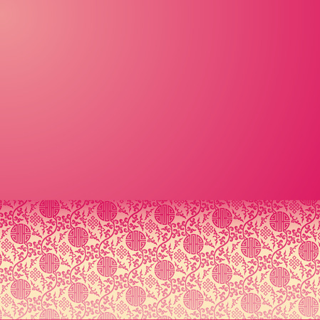 Vintage pink and cream traditional Chinese pattern background with horizontal banner for text