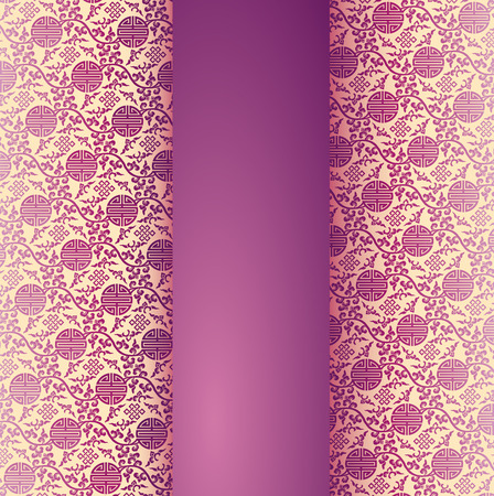 Vintage purple and cream traditional Chinese pattern background with vertical banner for text Vector