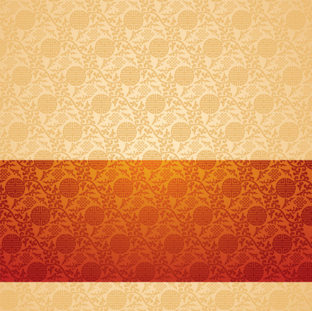 Vintage red and cream traditional Chinese pattern background with horizontal banner and space for text Illustration