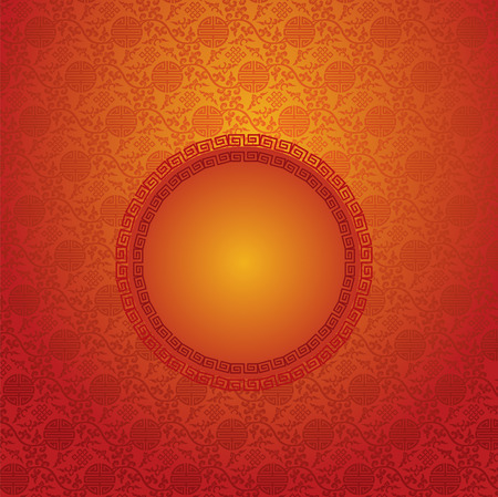 Vintage red traditional Chinese pattern background with round banner for text Vector