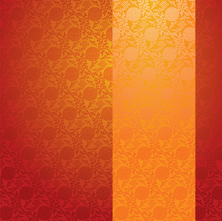 Vintage red and gold traditional Chinese pattern background with vertical banner for text