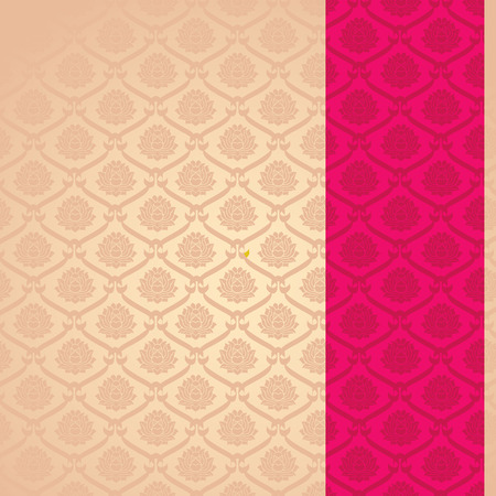 Traditional vintage pink and cream Asian lotus pattern background with vertical banner and space for text Illustration
