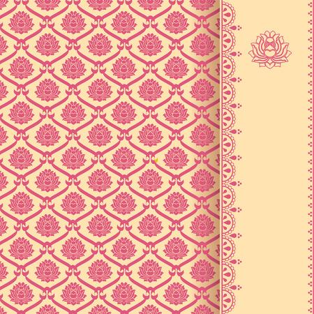 텍스트 수직 배너와 함께 전통적인 빈티지 핑크와 크림 아시아 로터스 패턴 배경