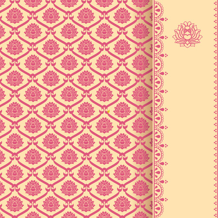 Traditional vintage pink and cream Asian lotus pattern background with vertical banner for text