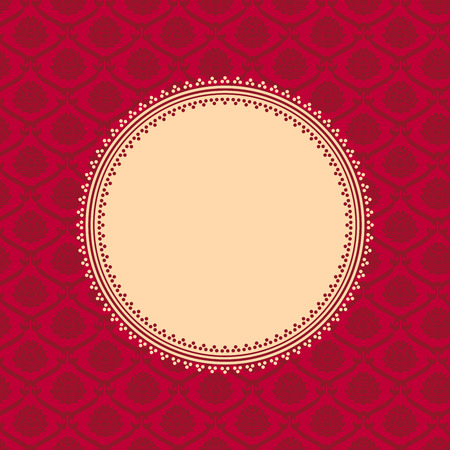 Traditional vintage red Asian lotus pattern background with round banner for text
