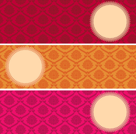 Set of colorful vintage Asian lotus pattern horizontal banners with round space for text