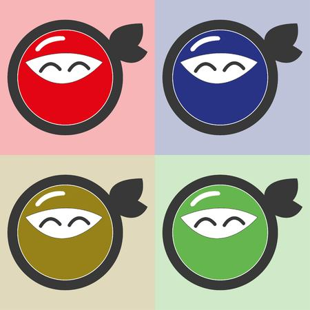 ninja illustration in different colors .