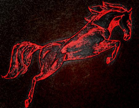 hard: drawing horse Stock Photo