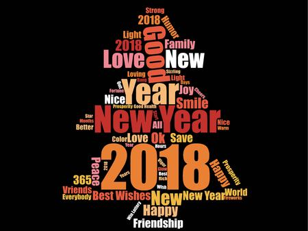 New year words collage in the form of tree in black background. Vectores