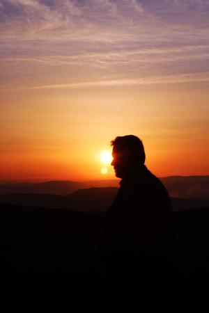 a man at sunset