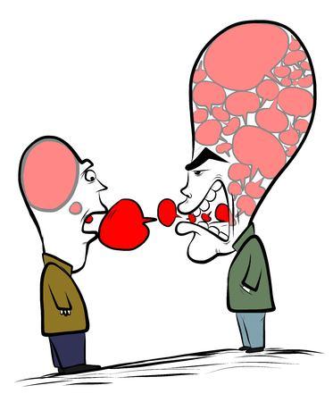 Two men conversing.