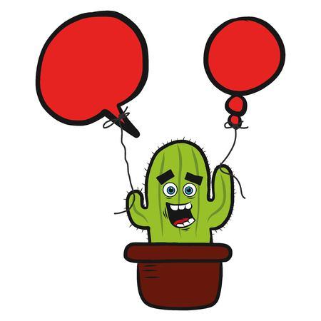 happy cactus drawing Ilustrace