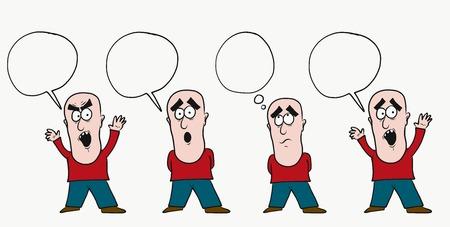 Man with speech clound illustration.