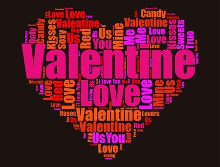 Valentine's Day graphic design on black background illustration