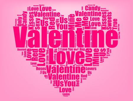 Valentine's Day graphic design on pink background illustration