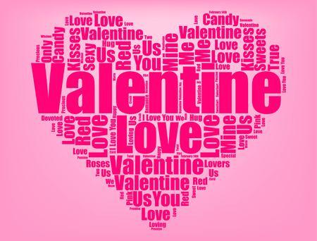 Valentines Day graphic design on pink background illustration Ilustrace