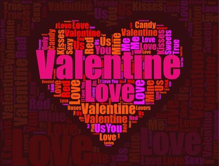Valentines Day graphic illustration on dark background.
