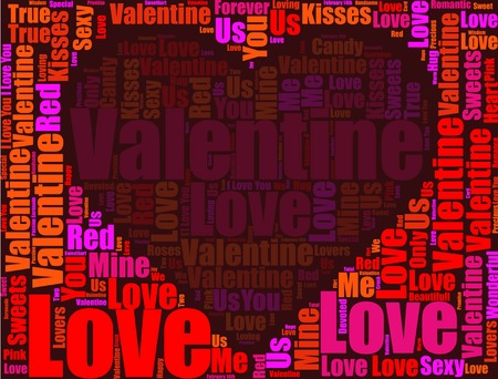 Valentine's Day with heart and Love text illustration