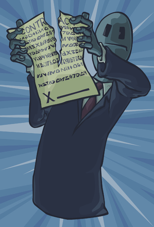 legal system: Man ripping up a Contract Illustration