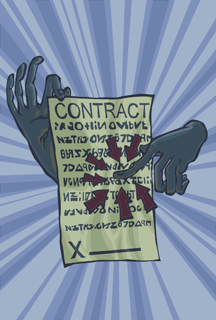 fine print: A hand pointing at a Contract