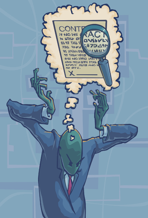 remembering: A man remembering a detail from a contract expressed through a magnifying glass magnifying a detail in a contract inside of a thought bubble. Illustration