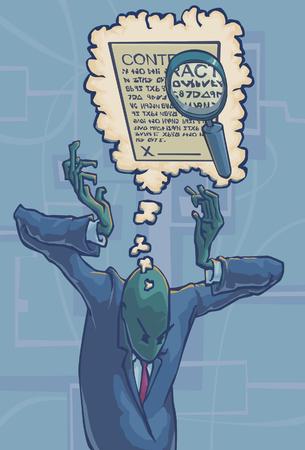 Een man herinneren een detail uit een overeenkomst uitgedrukt door een vergrootglas vergrootglas een detail in een contract binnen van een gedachte zeepbel. Stockfoto - 38909206