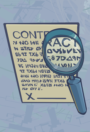 A Magnifying Glass magnifying a detail of a Contract. Stock Illustratie