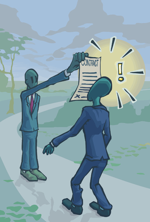pedestrian walkway: A Man shoving a Contract in another Man\