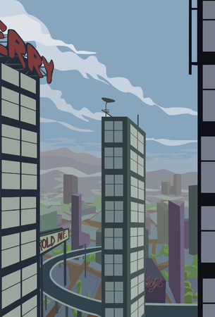 diminishing perspective: Cartoony Cityscape.  Looking out from elevated position out and down towards the city.