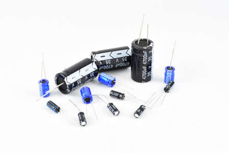 Radio components, vintage, electrolytic capacitors, different capacity, blue black repair replacement