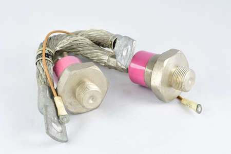 thyristors, high power, in a metal case, pink color, vintage radio components
