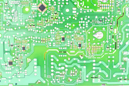 printed circuit Board with mounted mounting, radio components, light green color