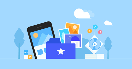 Flat illustration package includes: phone, images, DVD and sky.