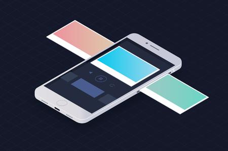 Phone isometric concept with slide image. Çizim