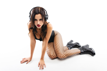 sexy girl DJ in top and pantyhose