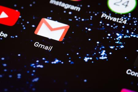 Kiev, Ukraine - October 3, 2017: the Gmail logo on the smartphone screen close-up.