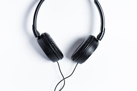 headphones black on a white background Stock Photo