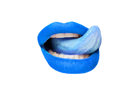 Female lips with blue lipstick and sticking out tongue on white background close-up Stockfoto