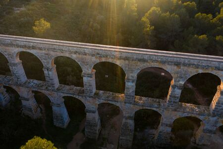 Ancient bridge aqueduct. Aerial view.