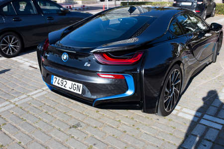 Barcelona, Spain - January 12, 2019: a BMW i8 electric sportscar.