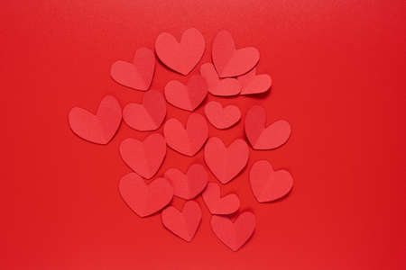 Paper red heart on a red background. Valentines Day. Valentines Day February 14. Stock fotó