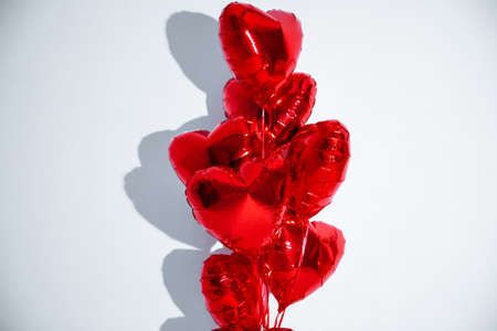 Happy birthday balloons heart love party decoration red . Valentines day .