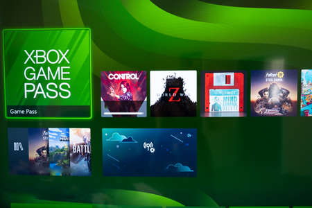 The XBOX logo GAME PASS is an online service for the Xbox Series X. Kiev, Ukraine - April 21, 2021