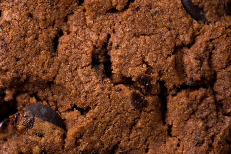 The texture of chocolate chip cookies. Macro close up.