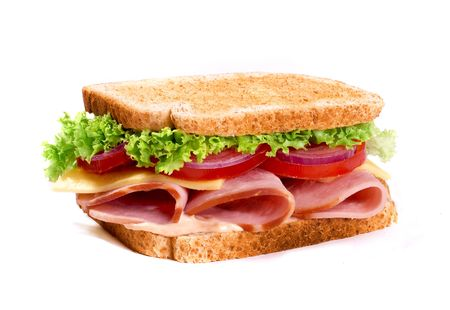 Big ham sanwich on white background
