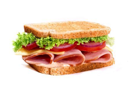 Big ham sanwich on white background