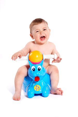 Crying baby sit on white background Stock Photo