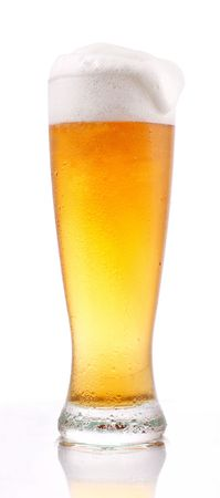 Glass of lager beer on white Stock Photo